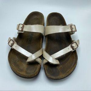 Birkenstock Mayari metallic pearl white sandal